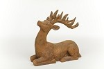 Resin Sitting Deer - Rust