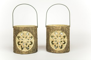 Carved Snowflake Votive, Set of 2